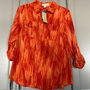 Michael Kors orange tie dye button down top